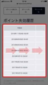 iPhoneやAndroidスマホでU-NEXTポイントの失効履歴を確認する方法 手順6-1.U-NEXTポイントの失効履歴を確認。表を右へ進めてください。
